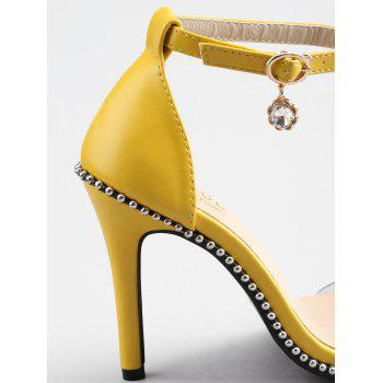 Stiletto Heel Chic Beading Transparent Strap Sandals - YELLOW 40