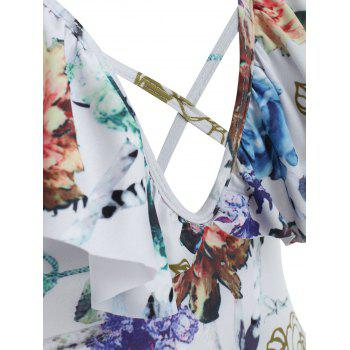 Low Cut Floral Ruffle Swimsuit - WHITE S