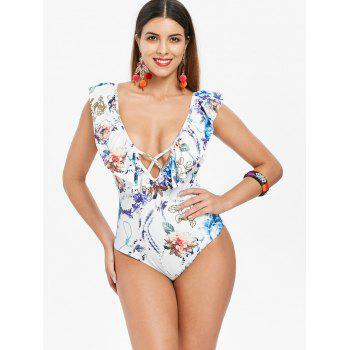 Low Cut Floral Ruffle Swimsuit - WHITE L