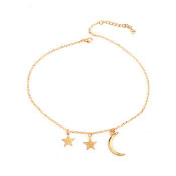 Statement Moon Star Pendant Chain Necklace - GOLD