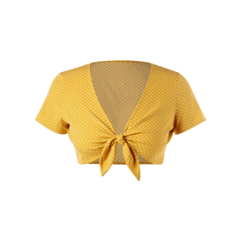 Plus Size Polka Dot Knot Crop Top - SCHOOL BUS YELLOW 4X