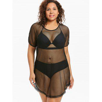 Plus Size Round Hem Fishnet Cover Up - BLACK 1X