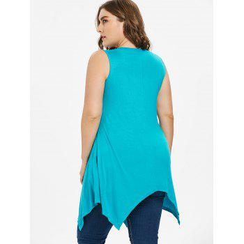 Plus Size Rhinestone Detail Handkerchief Tank Top - TURQUOISE 3X