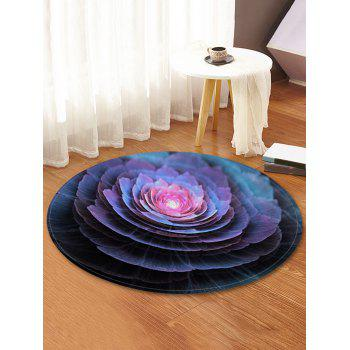 3D Flower Printed Round Coral Fleece Floor Mat