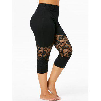 38fe74c8aed8c 45% OFF  2019 Plus Size Lace Panel Capri Leggings In BLACK 1X ...