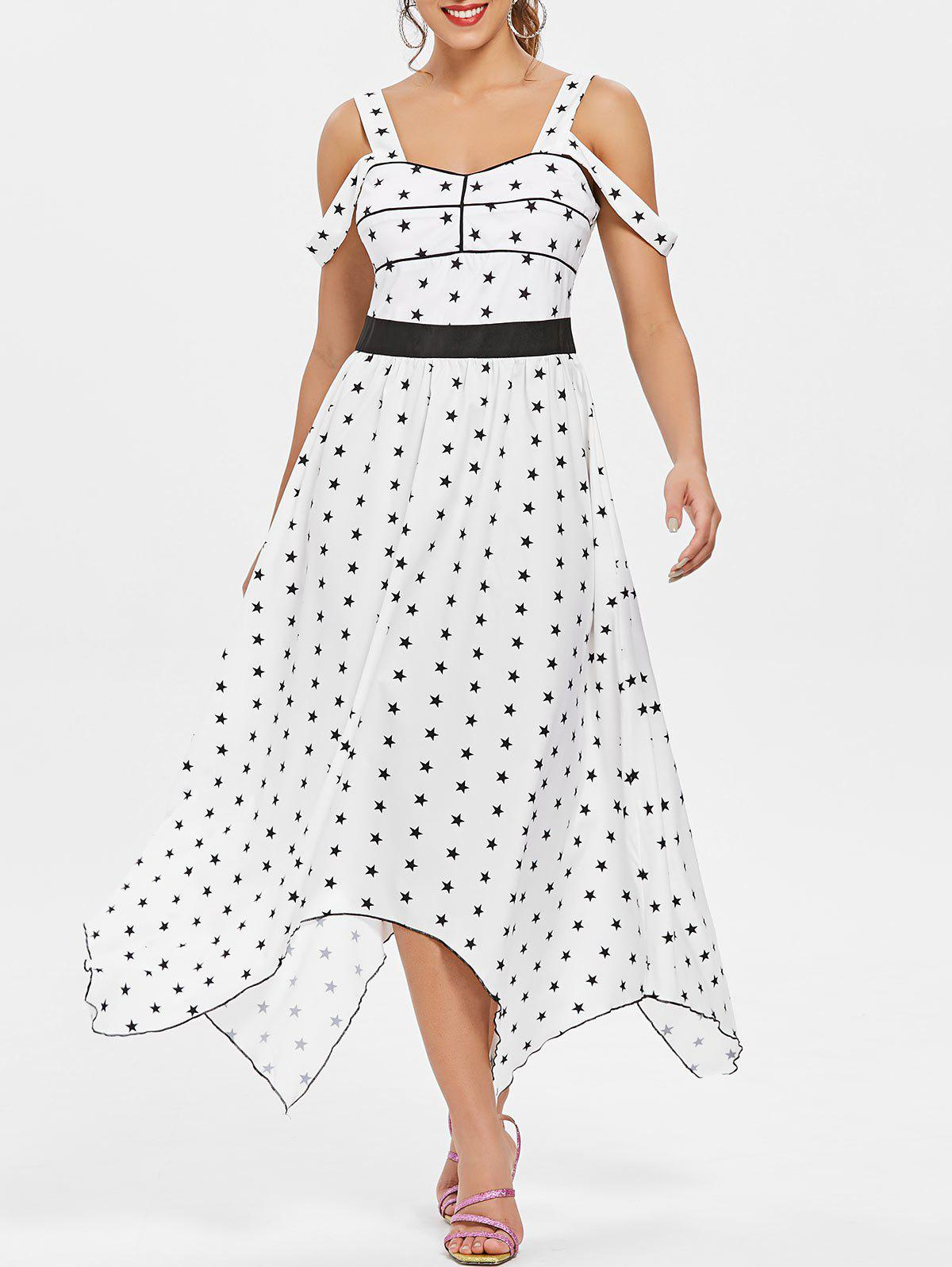Stars Printed Cold Shoulder Casual Dress - WHITE XL