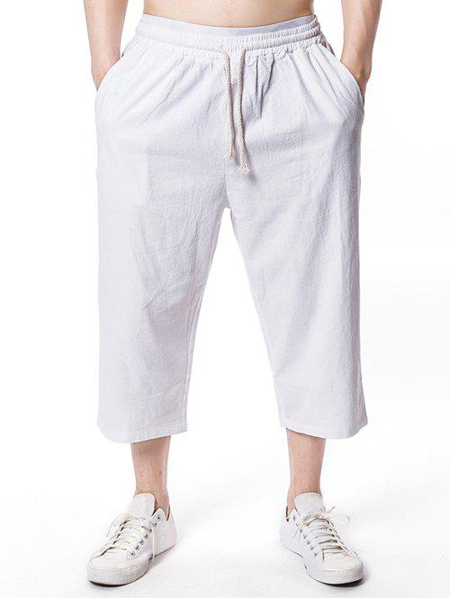 Drawstring Solid Color Nine Minutes of Pants - WHITE 2XL