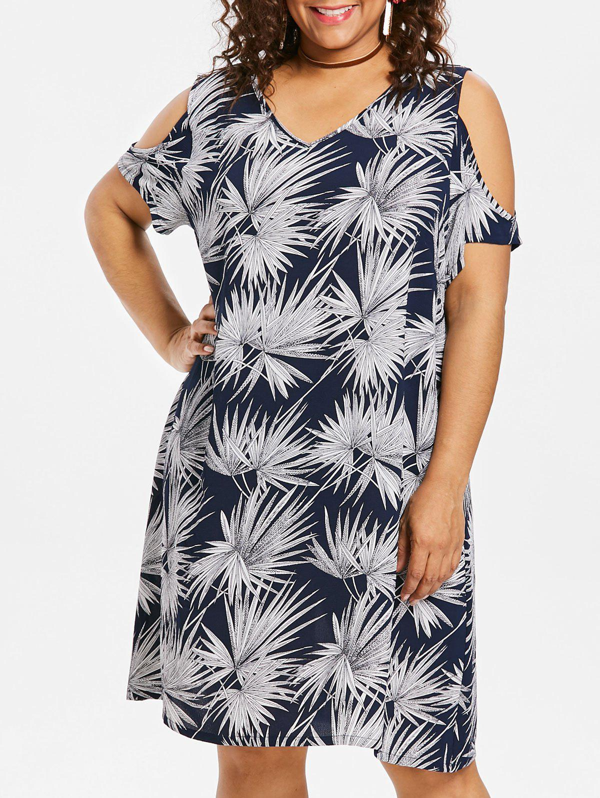 Plus Size Leaf Tunic Dress - BLUE 3X