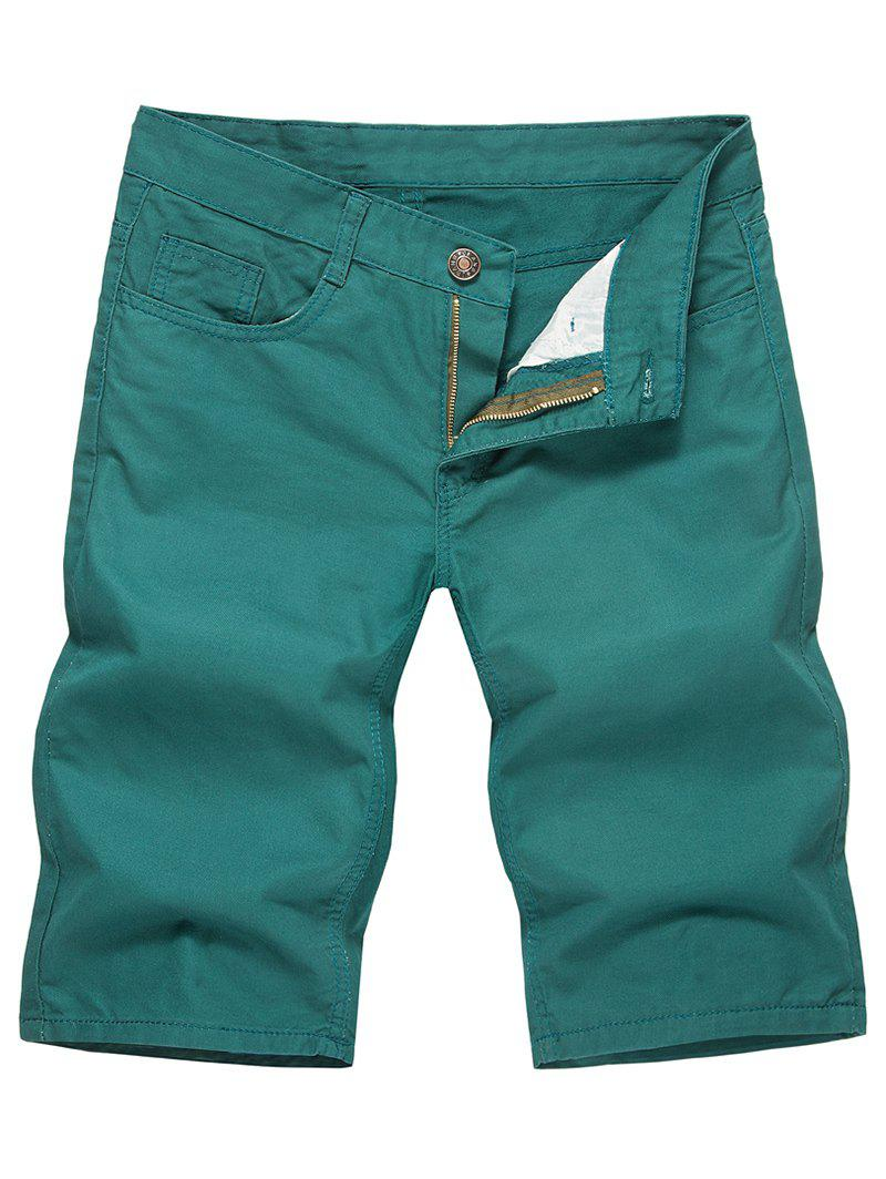 Solid Color Zip Fly Casual Shorts - LIGHT SEA GREEN L
