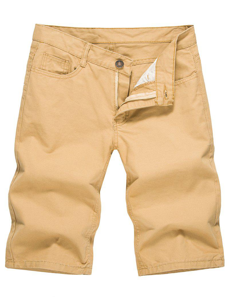 Solid Color Zip Fly Casual Shorts - LIGHT KHAKI XL