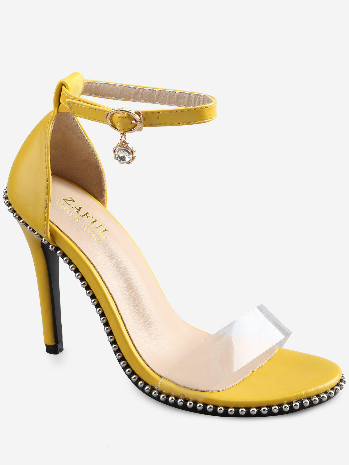 Stiletto Heel Chic Beading Transparent Strap Sandals - YELLOW 36
