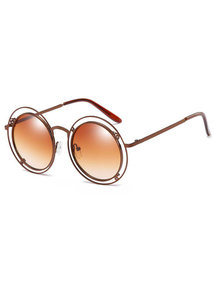 Unique Hollow Out Frame Circle Sunglasses - CAMEL BROWN