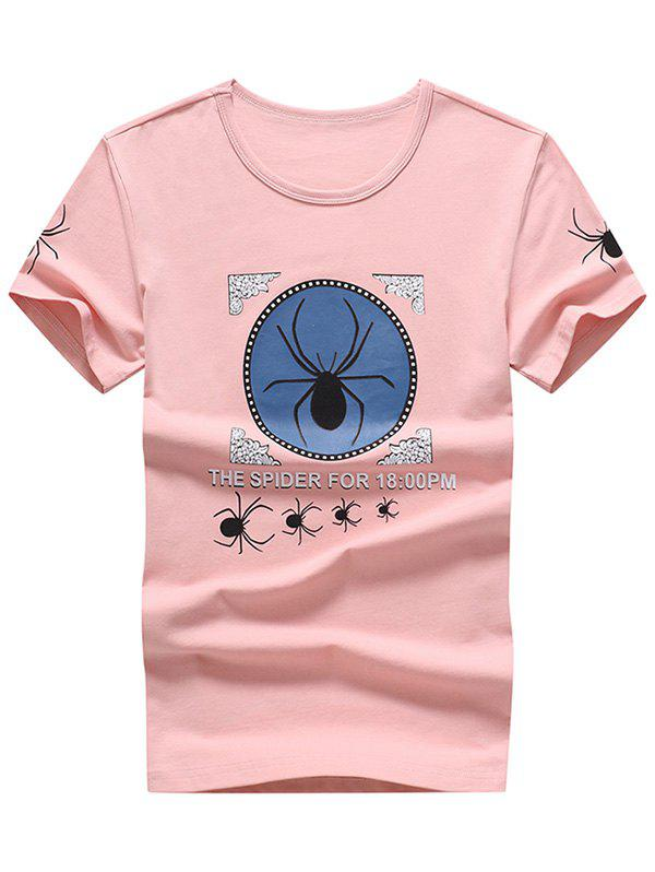 Letter Spiders Print Round Neck T-shirt - LIGHT PINK M