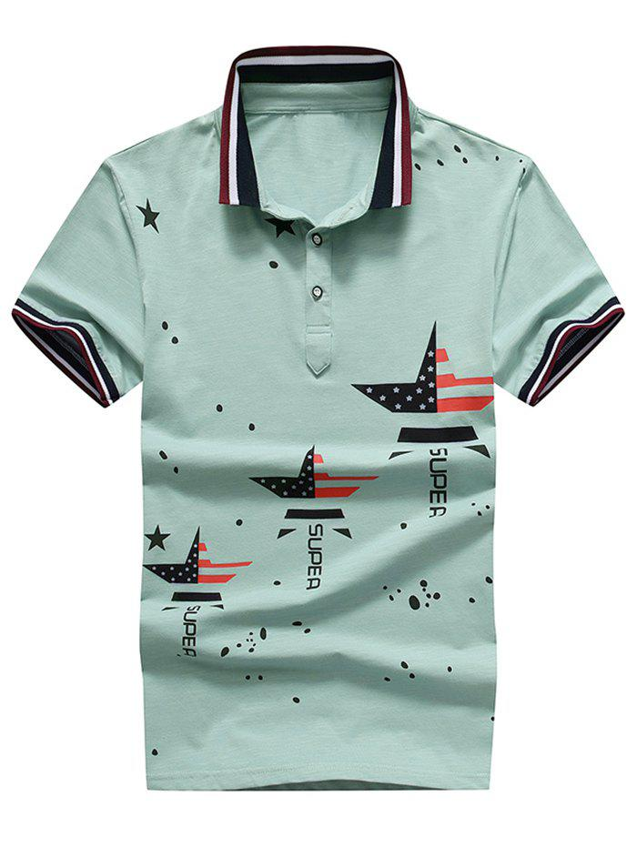 Letter Dissected Star Print Striped Polo Shirt - BLUE GREEN L