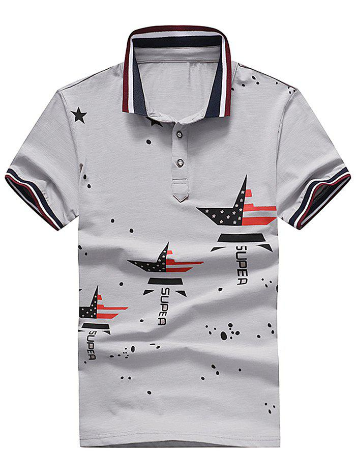 Letter Dissected Star Print Striped Polo Shirt - GRAY M