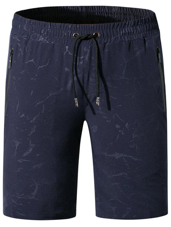 Printed Drawstring Board Shorts - DEEP BLUE XL