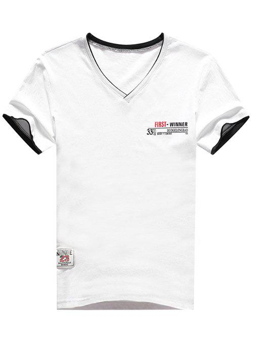 Casual Applique Panel Short Sleeve T-shirt - WHITE M