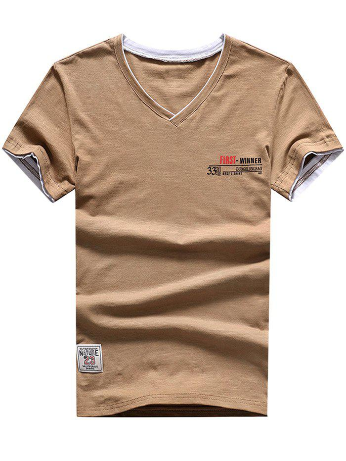 Casual Applique Panel Short Sleeve T-shirt - LIGHT KHAKI L