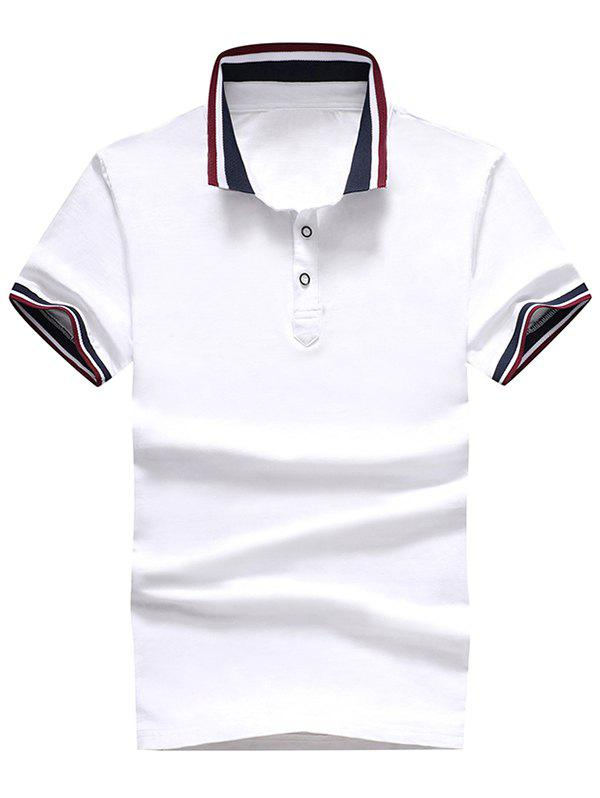 Stripe Trim Short Sleeve Casual Polo T-shirt - WHITE L