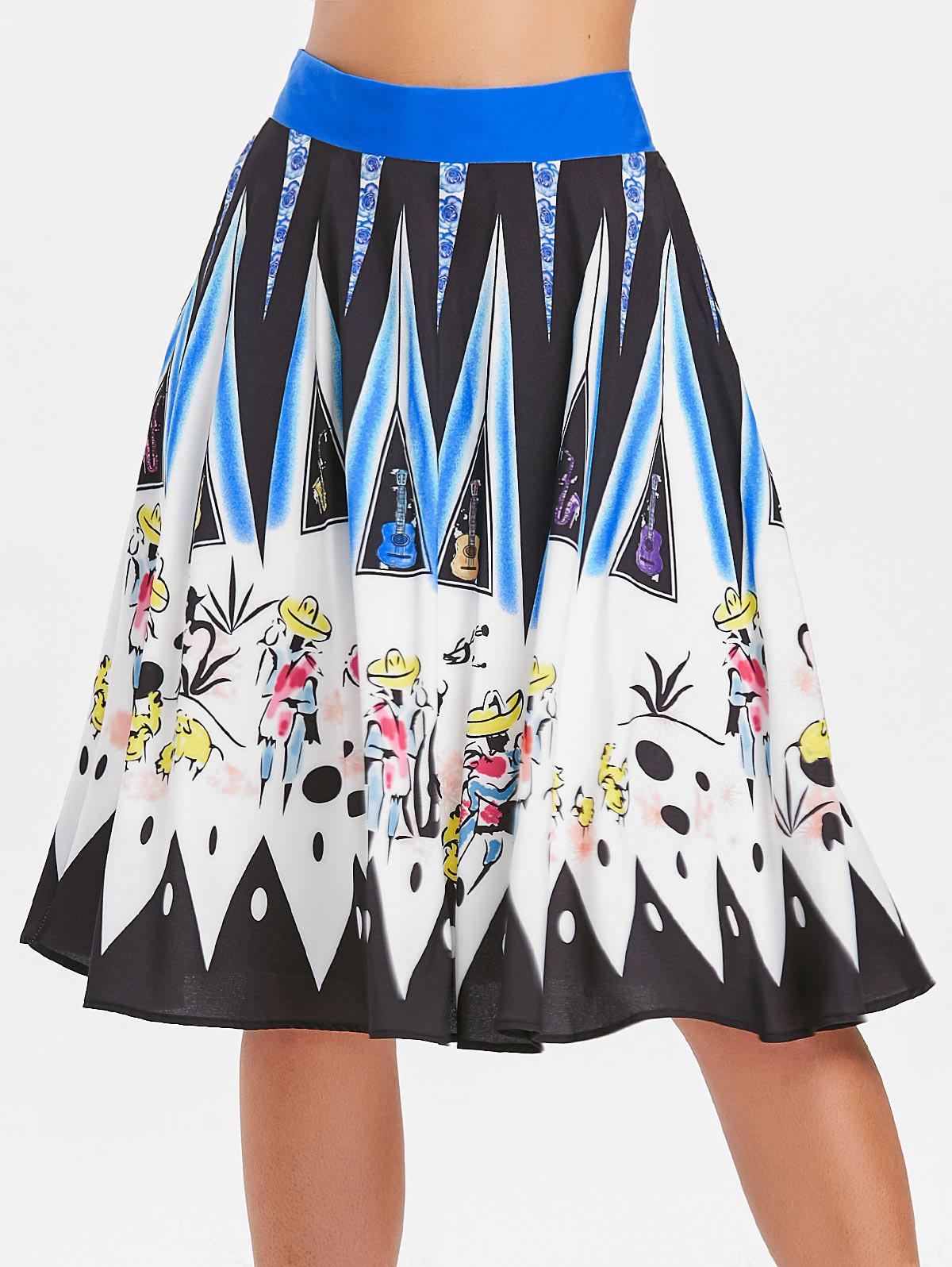 Drawing Printed Hit Color Skirt - multicolor 2XL