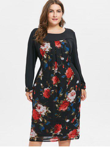Vestido Plus Size Floral Mesh Overlay