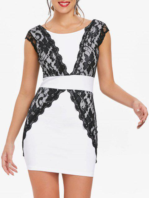 Charming Jewel Neck Lace Splicing Backless Short Sleeve Dress For Women - WHITE XL