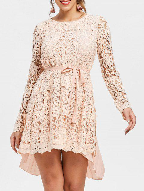 Long Sleeve High Low Mini Lace Pleated Dress - PINK XL