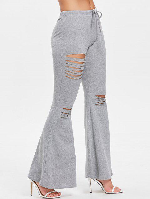 High Rise Ripped Bell Bottom Pants - GRAY M