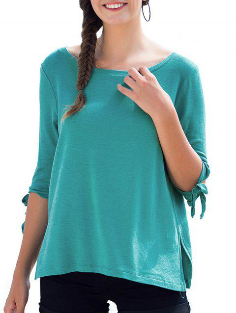 Round Neck Bow Tie Sleeves Tee - BLUE GREEN M