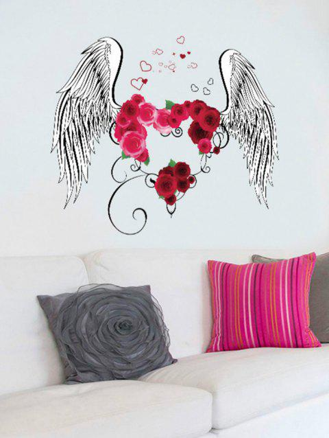 Flower Heart Wings Print Wall Art Stickers - multicolor