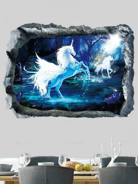 River Unicorn Print Wall Art Sticker - BLUE