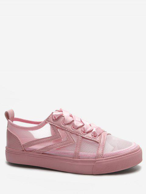 Lace Up Low Heel Leisure Walking Sneakers - LIGHT PINK 38