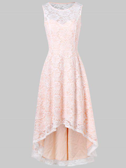 High Low Lace Prom Dress - APRICOT L