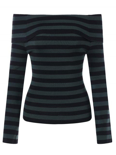 Off Shoulder Striped Knitted Top - BLACK ONE SIZE