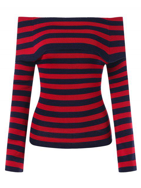Off Shoulder Striped Knitted Top - RED ONE SIZE