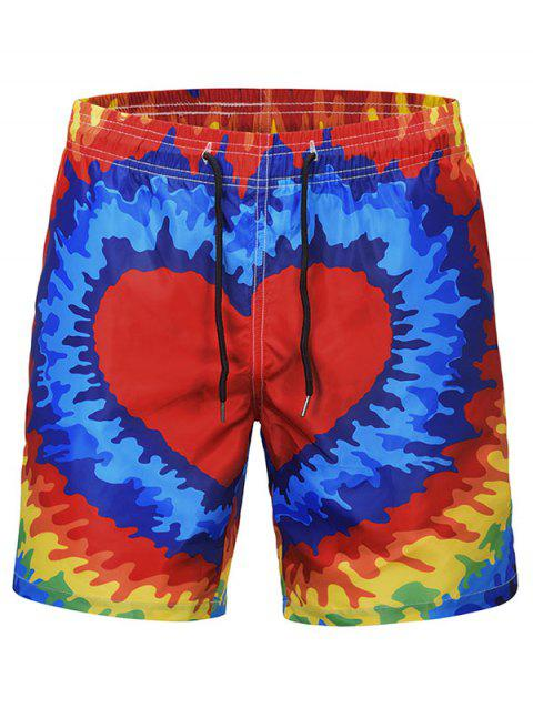 Heart Print Quick Dry Beach Board - multicolor L