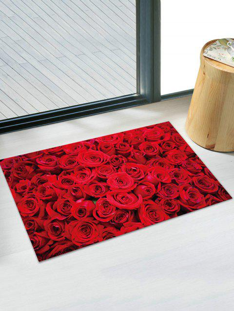 3D Rose Flower Printed Removable Wall Sticker - RED