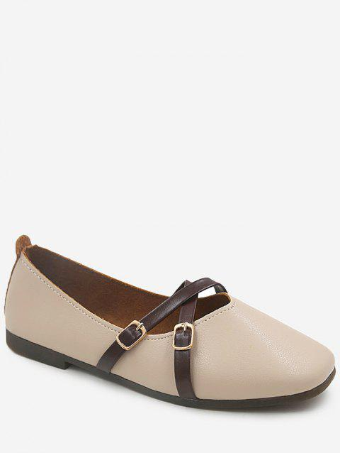 Buckled Faux Leather Crisscross Flat Heel Loafers - BEIGE 39
