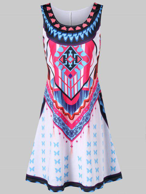 Tribal Print Mini Swing Dress - WHITE L