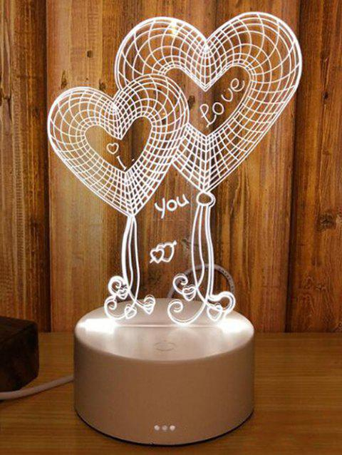 3D Double Heart 3 Color Changing LED Mini Table Lamp - multicolor
