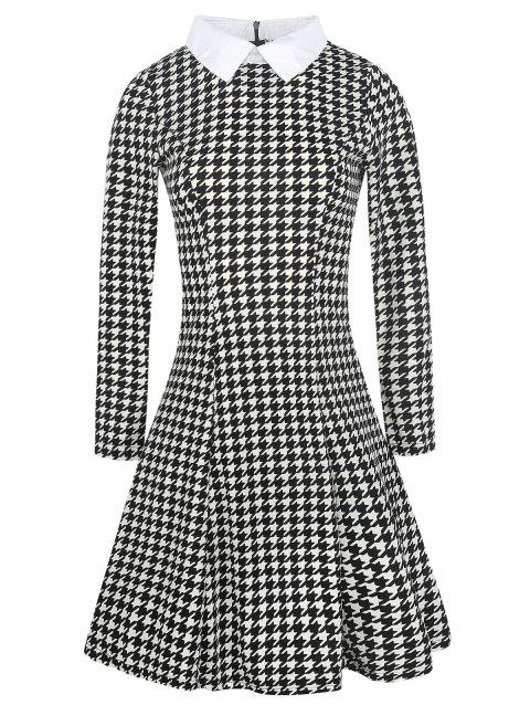 Houndstooth Print Long Sleeve Fit and Flare Dress - multicolor XL