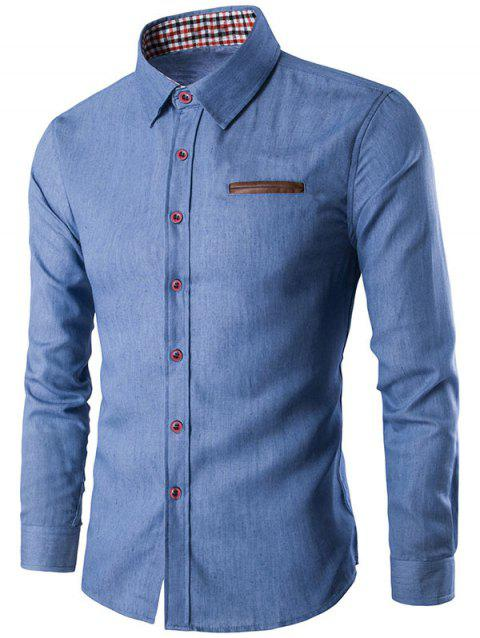 Patch Plaid Cloth Single Breasted Long Sleeve Shirt - GLACIAL BLUE ICE M