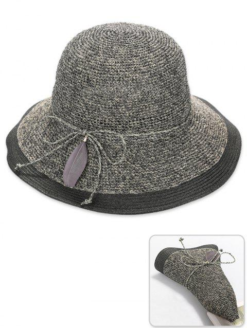 7af8a73e27b 41% OFF  2019 Stylish Feather Bowknot Foldable Sun Hat In GRAY ...
