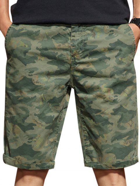 Casual Zip Fly Camo Shorts - ARMY GREEN 2XL