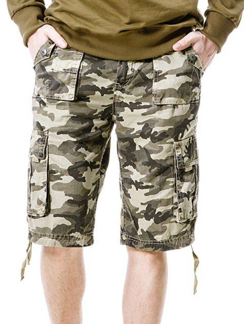 Camouflage Zip Fly Pockets Cargo Shorts - LIGHT KHAKI M