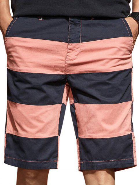 Wide Stripe Contrast Color Bermuda Shorts - BASKET BALL ORANGE 2XL