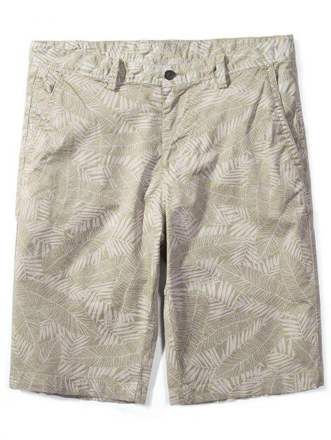 Allover Leaves Print Bermuda Shorts - LIGHT KHAKI XL