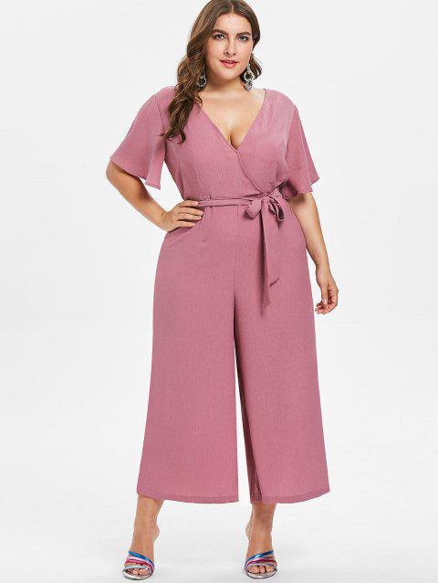 Plus Size V Neck Belted Jumpsuit - TULIP PINK L