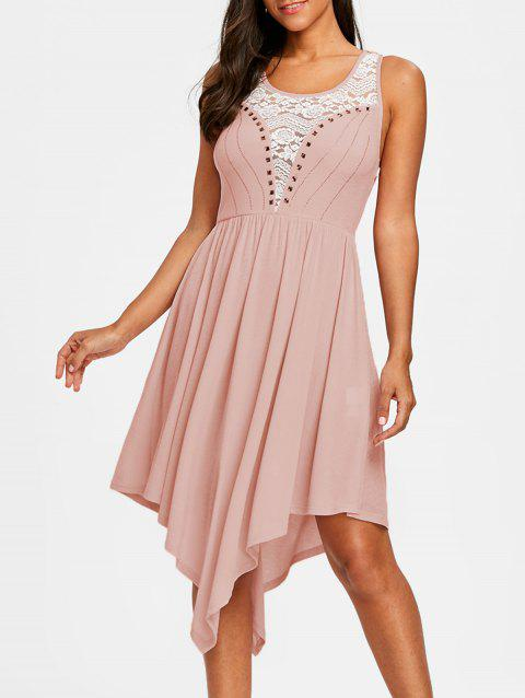 Lace Insert Sleeveless Prom Dress - PINK M