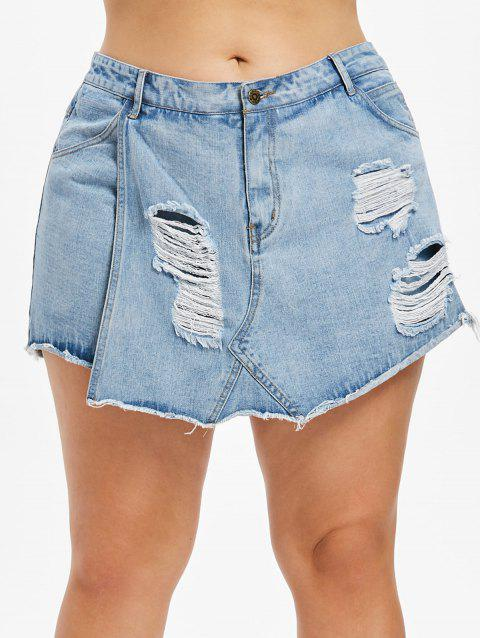 Plus Size Frayed Torn Denim Shorts - DENIM BLUE L